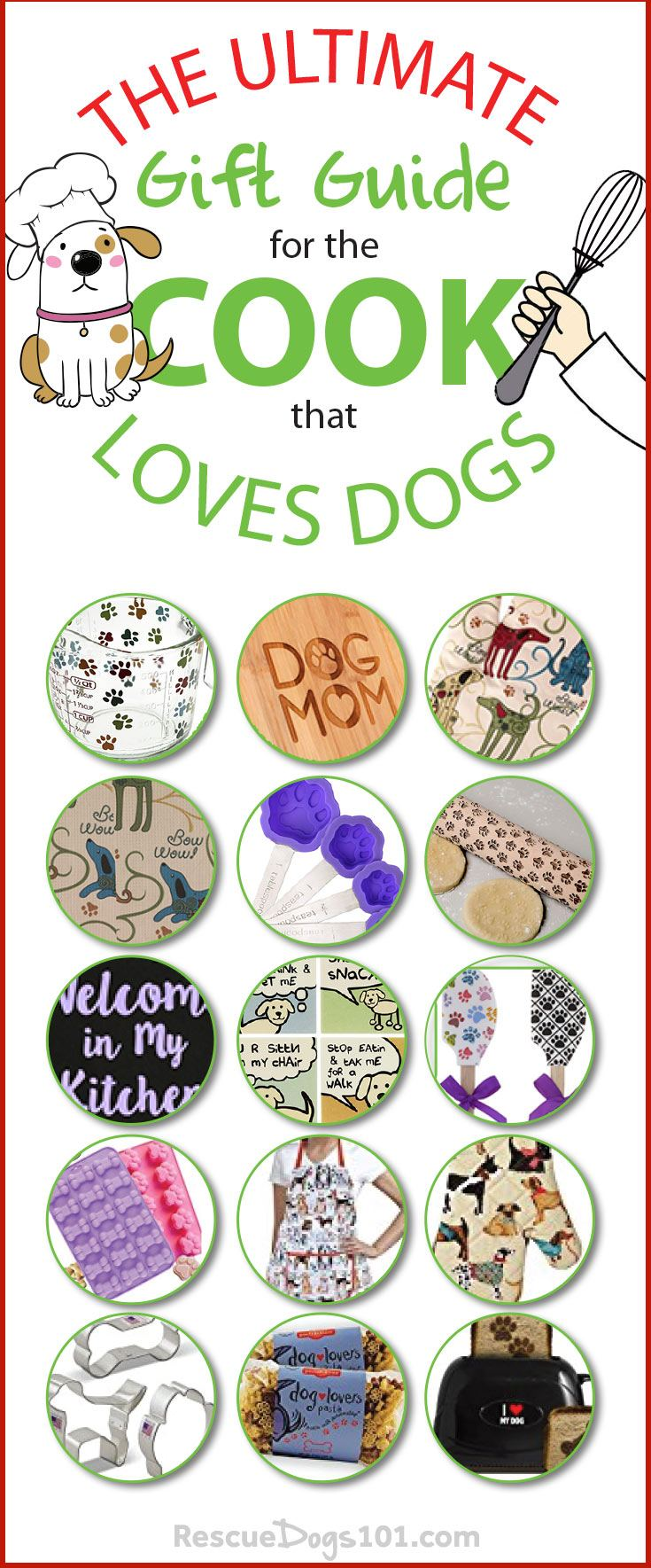 Dogs, dogs, and more dogs. We handpicked the top 15 gifts for the chef in your life that love dogs. #doggies #doglovers #dog #cook #chef #giftguide #giftguidefordoglover
