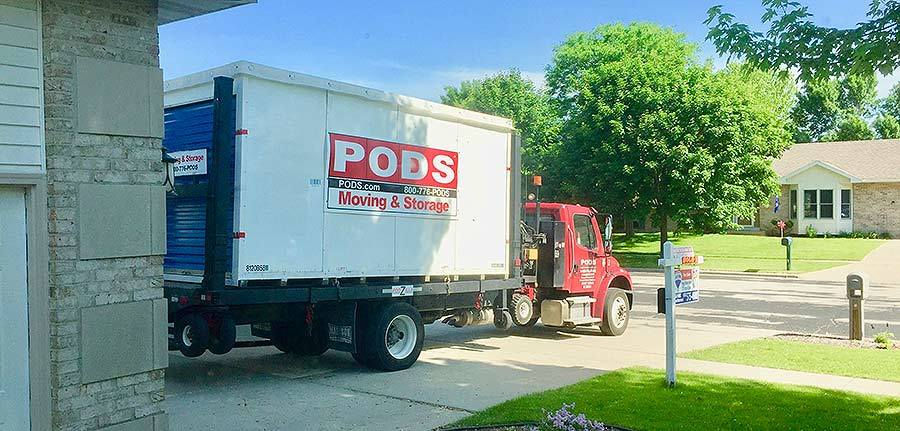 Moving Pods being dropped off at house