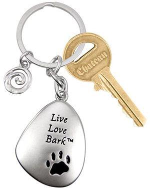 live love bark key chain dog
