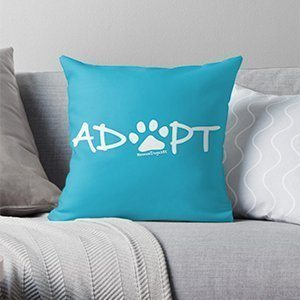 Adopt Dog Paw Print Throw Pillow or Floor Pillow