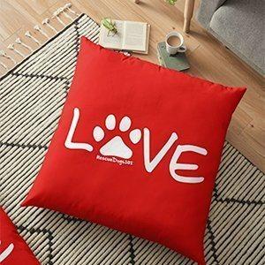 Love Paw Print Pillow