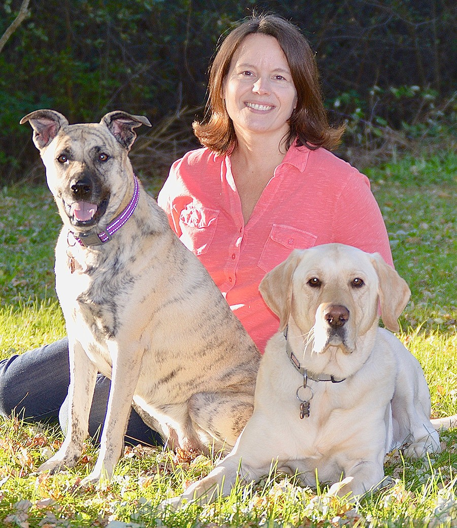 Debi McKee creator of Rescue Dogs 101 with her dogs Ginger and Bear