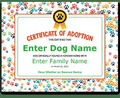rescue dog adoption certificate
