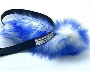 Blue furry tug toy for dogs