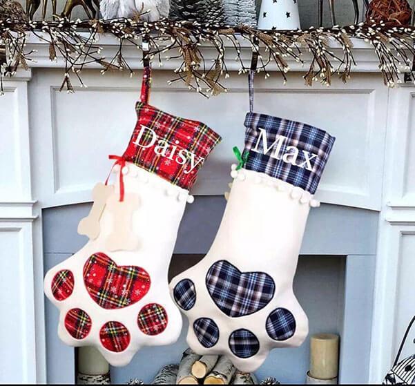 blue paw print Christmas stocking