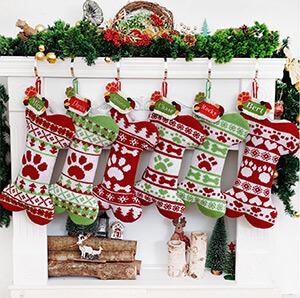 Knit Christmas Stockings Personalized Dog Bone Stocking