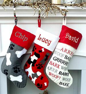 Dog bone, paw print, bark Felt Stockings Personalized with Dogs Name