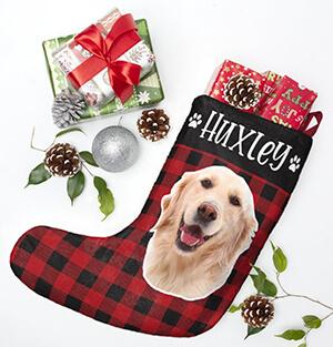 Personalized Dog Photo and name Christmas Stockings