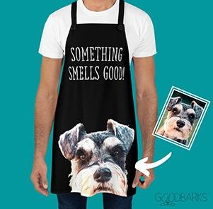 custom photo kitchen apron that says something smells good!