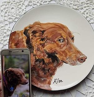 custom dog photo kitchen plate