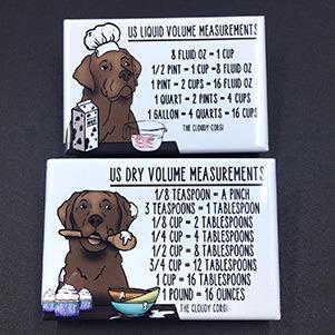 dog kitchen measure converter magnet