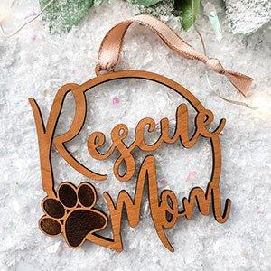 rescue dog mom ornament