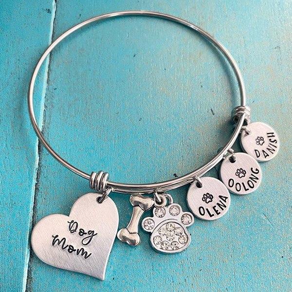 Personalized Dog Mom Bangle Bracelet