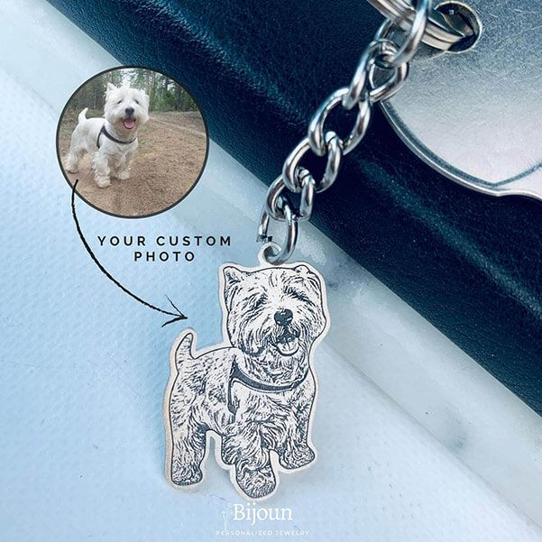 Handmade Custom Dog Photo Keychain with your own image. High-Quality 925 Sterling Silver or Titanium Steel.