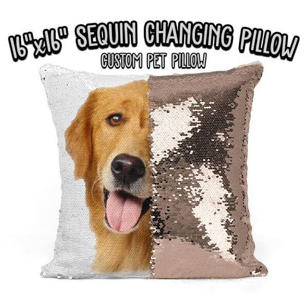 Sequin Changing Dog Pillow Personalized with your Dog's Picture and Name.