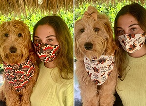 matching Thanksgiving dog bandana and face mask