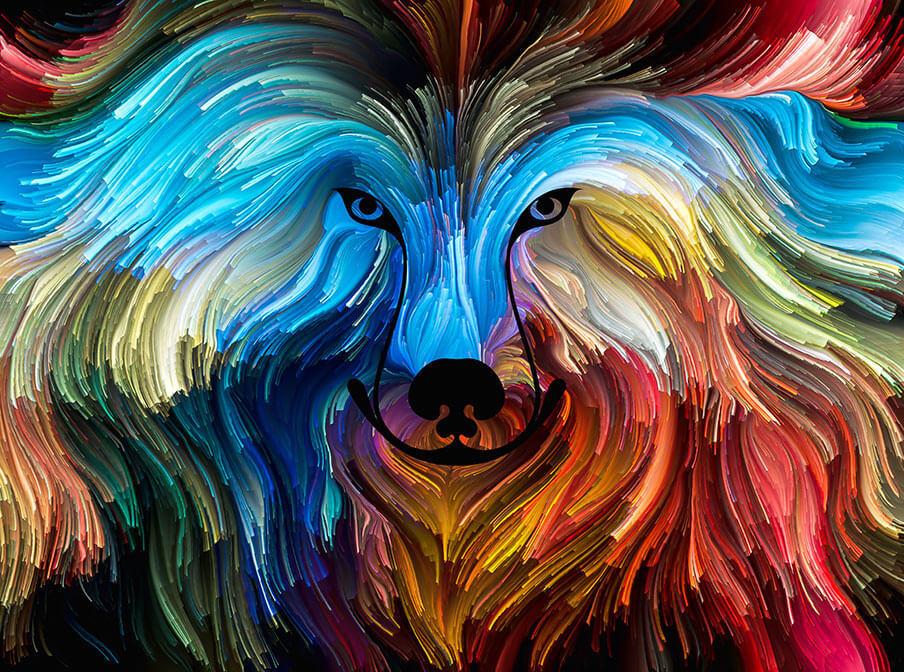 beautiful digital spiritual painting of a dogs face